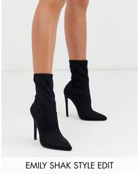 ASOS Esmerelda - Sock Boots Met Hoge Hak - Zwart