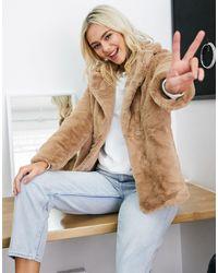 New Look Faux Fur Coat - Multicolour