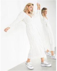 ASOS Vestido midi cruzado con diseño - Blanco