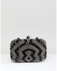 True Decadence - Black Beaded Embellished Box Clutch Bag - Lyst