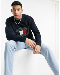 Tommy Hilfiger Iconic Logo Graphic Knit Jumper - Blue