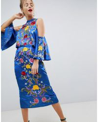ASOS - Cold Shoulder Pencil Midi Dress With Star And Floral Embroidery - Lyst