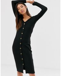 ONLY Ribbed Button Through Midi Dress In Black - Brown