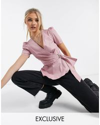 In The Style - Exclusive Puff Sleeve Wrap Front Top With Belt Detail - Lyst