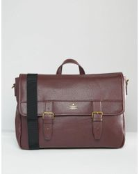 ASOS - Satchel In Burgundy With Gold Emboss - Lyst