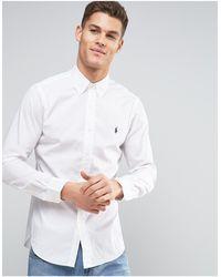 Polo Ralph Lauren Белая Приталенная Рубашка Из Поплина -белый