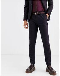 TOPMAN - Pantaloni da abito slim bordeaux a quadri - Lyst