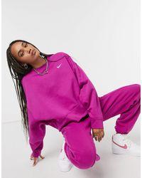 Nike Mini Swoosh Oversized Boxy Sweatshirt - Purple