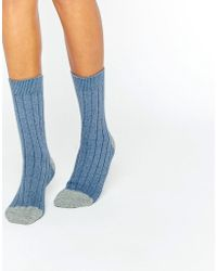 Johnstons - Of Elgin Blue Cashmere Colour Block Ribbed Socks - Lyst