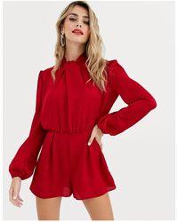 Miss Selfridge Satin Playsuit With Twist Neck - Red