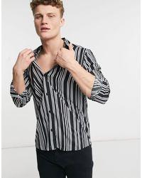 Another Influence Monochrome Print Shirt - Black