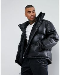 Mennace - Puffer Jacket In Leather Look - Lyst