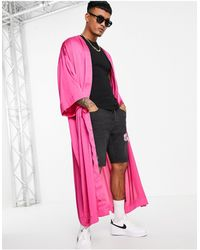ASOS Ярко-розовое Атласное Кимоно Супердлинного Кроя (от Комплекта) - Розовый