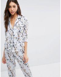 Vero Moda Satin Pyjama Style Blouse In Floral Print - Blue
