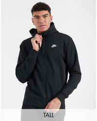 Nike Черный Худи На Молнии Tall Club