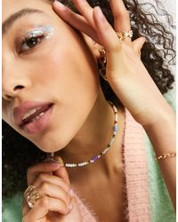 ASOS Beaded Necklace With Daisies And Pearl - Multicolour