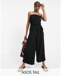 ASOS Asos Design Tall Bandeau Rope Tie Jumpsuit - Black