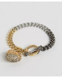 Juicy Couture Champagne Ombre Heart & Chain Bracelet - Metallic