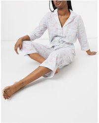 Lauren by Ralph Lauren Pyjama Met Kraag Met Inkeping, Capribroek En Bloemenprint - Blauw