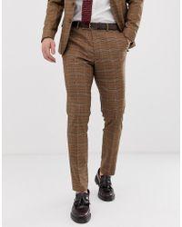 ASOS Pantalones de traje ajustados con cuadros marrones Príncipe de Gales - Marrón