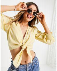 Abercrombie & Fitch Tie Front Poplin Crop Top - Yellow