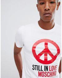 Love Moschino - T-shirt bianca con segno della pace - Lyst