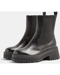 TOPSHOP Leather Chunky Chelsea Boots - Black