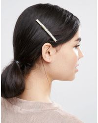 LoveRocks London - Gold Bow Hair Clip - Lyst