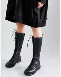 New Look Leather Look Lace Up Biker Boots - Black
