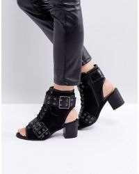 PrettyLittleThing Buckle Detail Heeled Open Toe Boots - Black