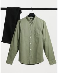 Brave Soul Long Sleeve Twill Shirt - Green