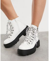Glamorous Chunky Hiker Boots - White