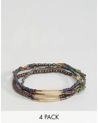 ASOS - Pack Of 4 Iridescent Stretch Bead Friendship Bracelets - Lyst