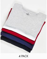 Threadbare 5 Pack T-shirt With Crew Neck - Red