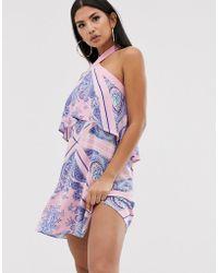 ASOS High Neck Tiered Beach Sundress In Pink Bandana Print - Multicolour