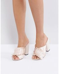 Lost Ink - Nude Pleat Detail Mules - Lyst