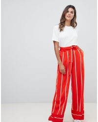 Y.A.S Striped Wide Leg Pants - Red