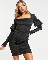 Naanaa Square Neck Satin Bodycon Dress - Black