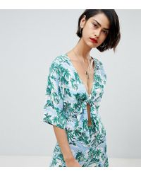 Reclaimed (vintage) - Inspired Tie Front Playsuit In Hawaiian Print - Lyst
