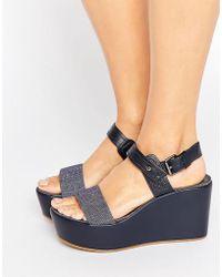 G-Star RAW Remi Plateau Wedge Sandals - Blue