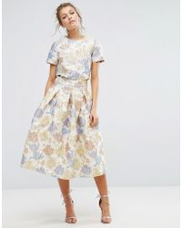 True Decadence Floral Midi Skirt In Jacquard Co Ord - Natural