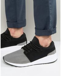 Pull&Bear Runner Trainers With Contrast Trim In Black & White