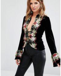 Millie Mackintosh Embroidery Floral Jacket - Black