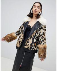 River Island - Studio Faux Fur Aviator Jacket In Animal Print - Lyst