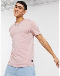 Only & Sons - T-shirt lunga rosa con fondo arrotondato - Lyst