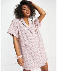Lola May Double Breasted Blazer Dress - Pink