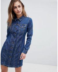 Levi's - Levi's Button Through Long Sleeve Western Denim Dress - Lyst
