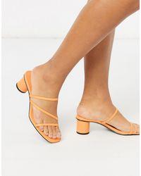 Monki Оранжевые Босоножки На Каблуке -оранжевый