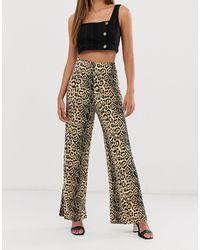 AX Paris Pantalon large à imprimé léopard - Multicolore