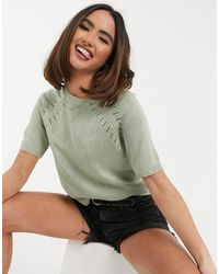 Oasis Pointelle Knit T-shirt - Green